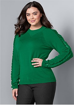 plus size sleeve detail sweater