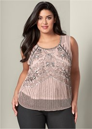Front View Embellished Mesh Top