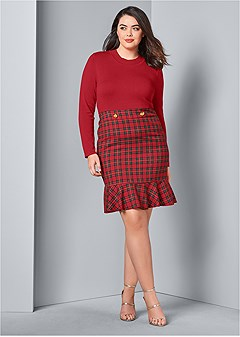 plus size plaid detail sweater dress