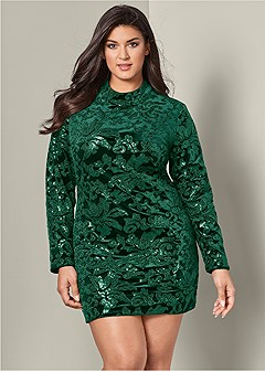 plus size sequin detail velvet dress
