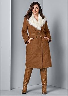 plus size faux suede long coat