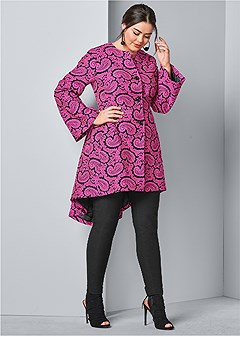 plus size paisley print coat