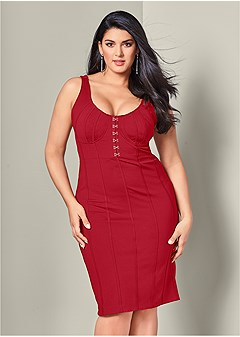 plus size hook detail bodycon dress