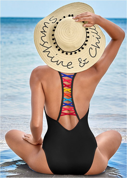 STRAPPY RACERBACK ONE-PIECE,BOHO MAXI DRESS COVER-UP,STRAW FRINGE HAT