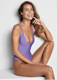 v neck reversible one-piece