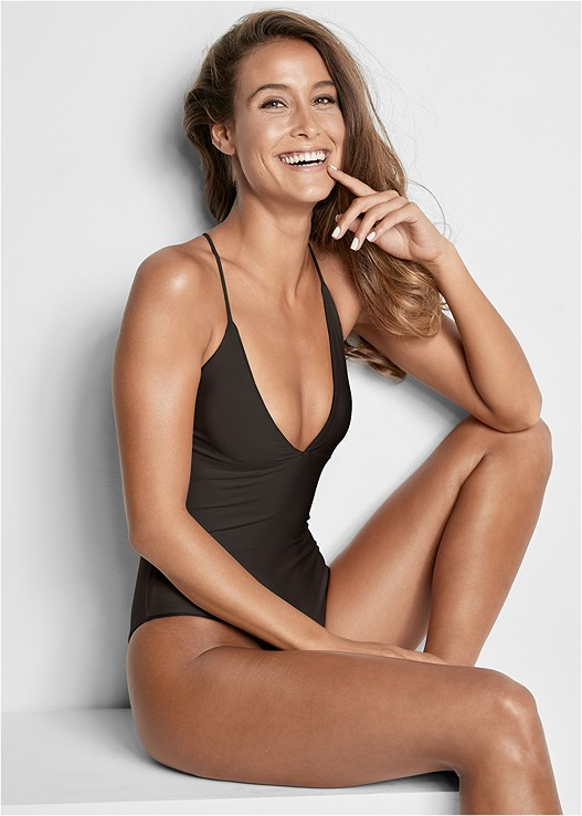 VERSATILITY BY VENUS™ V NECK REVERSIBLE ONE-PIECE,HALTER CROP TOP COVER-UP,TIE FRONT COVER-UP SHORTS