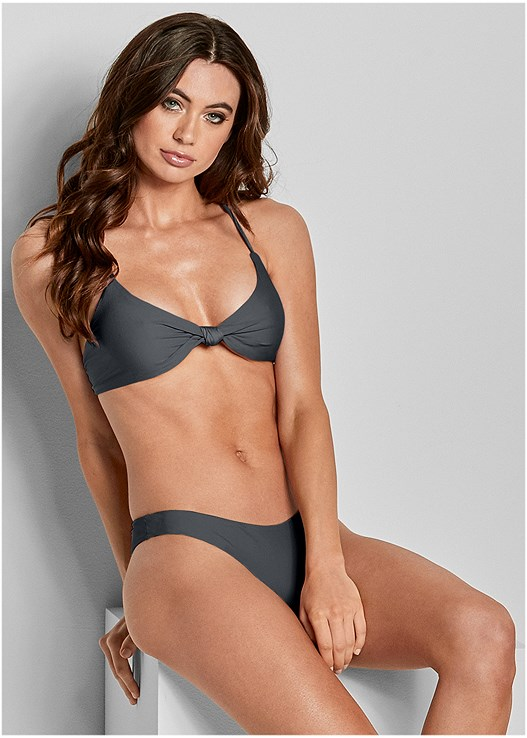 REVERSIBLE KNOTTED TOP,REVERSIBLE HIGH LEG BOTTOM