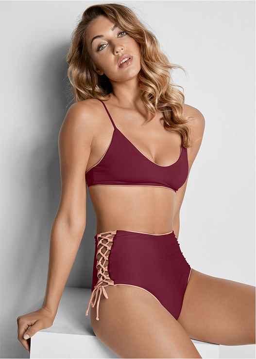 VERSATILITY BY VENUS ™  REVERSIBLE SCOOP TOP,VERSATILITY BY VENUS ™ REVERSIBLE HIGH CUT BOTTOM,VERSATILITY BY VENUS ® REVERSIBLE RETRO BOTTOM,VERSATILITY BY VENUS ™ REVERSIBLE RETRO BOTTOM,VERSATILITY BY VENUS™  REVERSIBLE CHEEKY BOTTOM