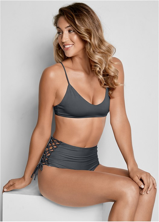 REVERSIBLE SCOOP TOP,REVERSIBLE HIGH CUT BOTTOM
