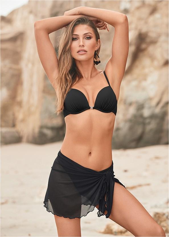 Mesh Wrap Skirt,Enhancer Push Up Bra,Scoop Front Classic Bikini Bottom ,Low Rise Classic Bikini Bottom