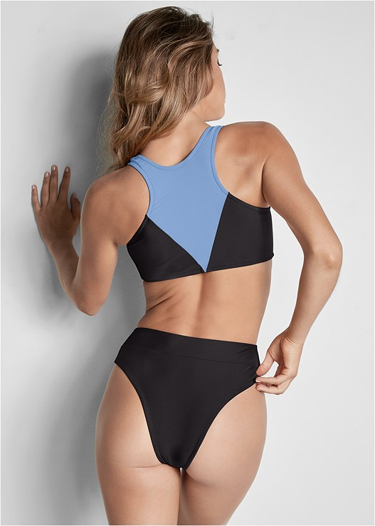 VERSATILITY BY VENUS ® REVERSIBLE RETRO BOTTOM,COLOR BLOCK TWO IN ONE TOP