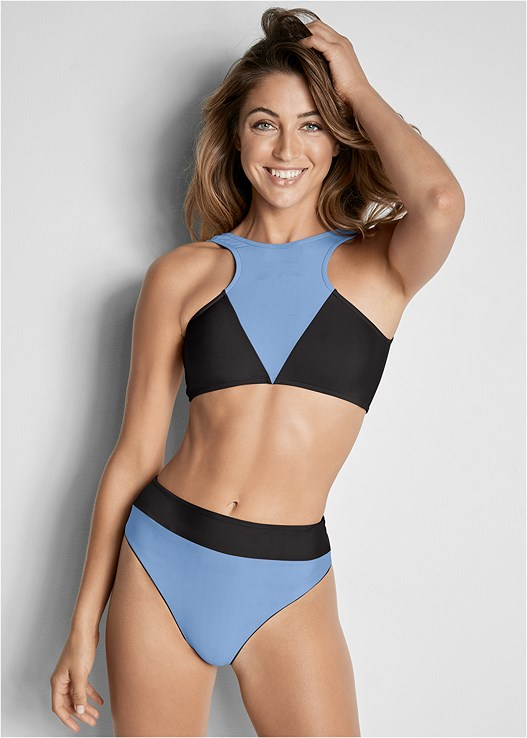 REVERSIBLE RETRO BOTTOM,COLOR BLOCK TWO IN ONE TOP