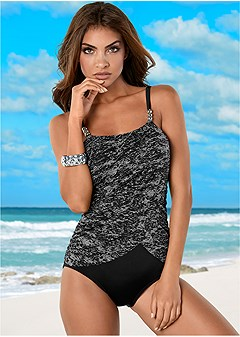 slimming draped one-piece
