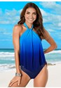Front View High Neck Flounce One-Piece