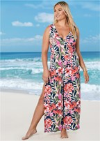 plus size slit leg jumpsuit cover-up