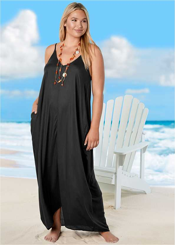 Boho Maxi Dress Cover-Up,Vacation Time Underwire Top,Full Coverage Mid Rise Hipster Bikini Bottom,Crisscross One-Piece,Studded Flip Flops