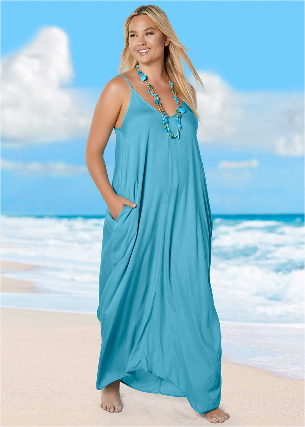 Boho Maxi Dress Cover-Up,Lovely Lift Wrap Bikini Top,High Waist Bottom,Embellished Slides