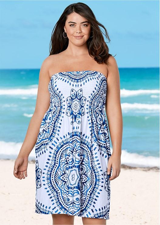 38a04dda725 Plus Size SMOCKED BANDEAU DRESS