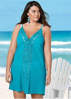 plus size v-neck crochet dress