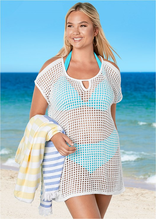 COLD SHOULDER COVER-UP,MARILYN PUSH UP BRA TOP,LEILA HIGH WAIST BOTTOM