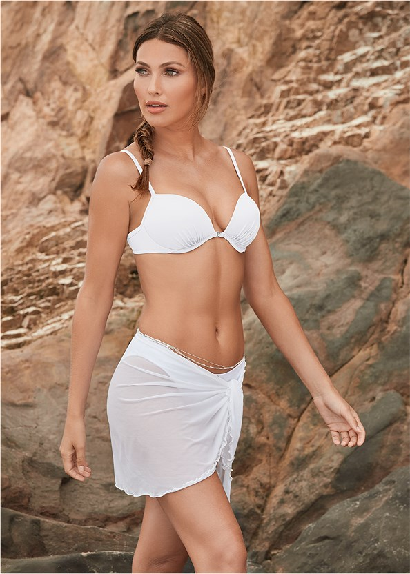 Mesh Wrap Skirt,Scoop Front Classic Bikini Bottom