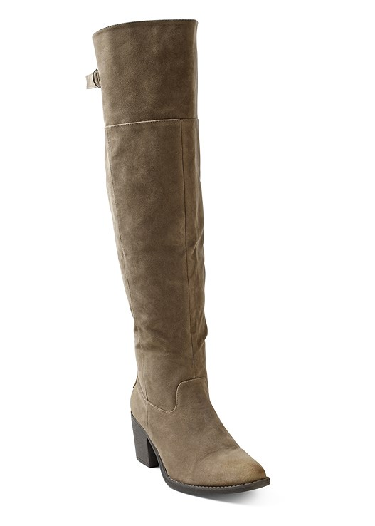 BUCKLE FAUX SUEDE BOOT,COLOR SKINNY JEANS