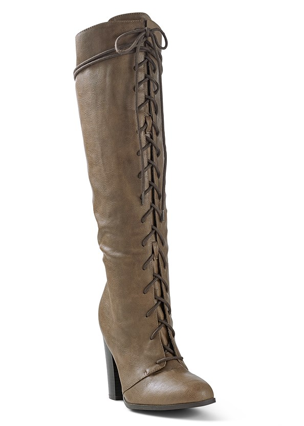 Lace Up Tall Boots,Casual High Low Top,Ripped Bum Lifter Jeans,Beaded Drop Earrings