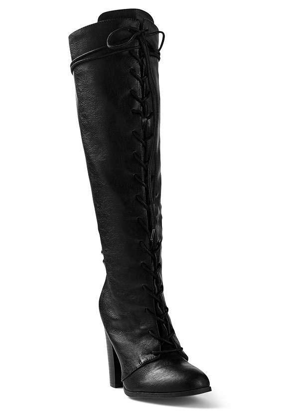 Lace Up Tall Boots,Seamless Cami,Mid Rise Full Length Slimming Stretch Jeggings
