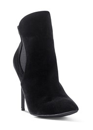 Front View Faux Suede Pointy Booties