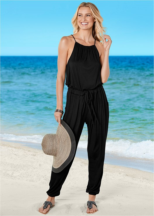 COVER-UP JUMPSUIT,ONE SHOULDER MESH ONE-PIECE