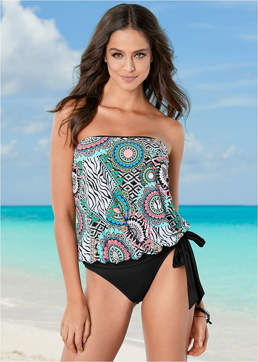 TIE SIDE BLOUSON TANKINI,HIGH WAIST MODERATE BOTTOM,HIGH WAIST FULL CUT BOTTOM