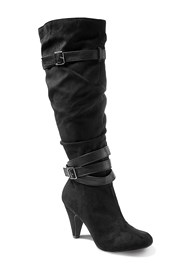 Front View Slouchy Layered Strap Boots