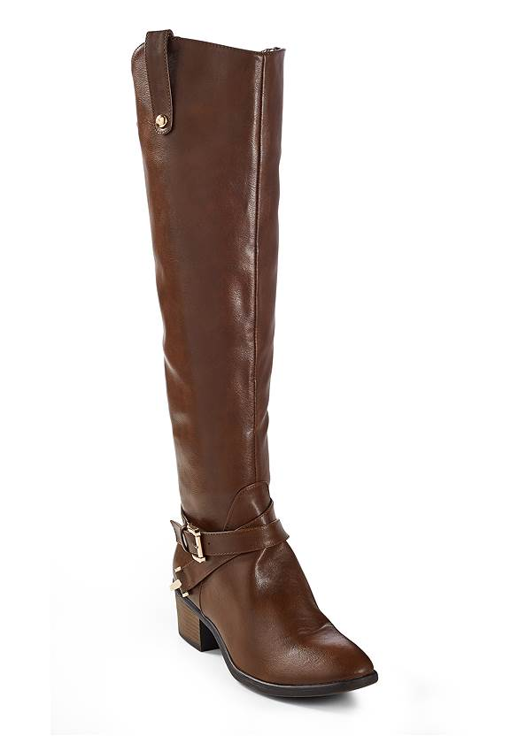 Buckle Riding Boots,Ribbed Peplum Sweater,Mid Rise Color Skinny Jeans
