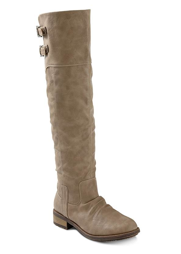 Buckle Knee High Boots,Basic Cami Two Pack,Open Knit Cardigan,Mid Rise Color Skinny Jeans
