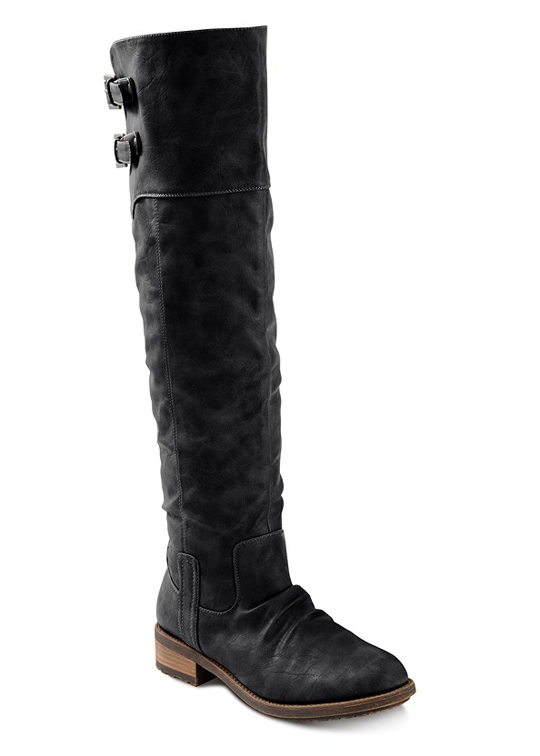 Buckle Knee High Boots,Buckle Detail Cowl Sweater,Mid Rise Color Skinny Jeans