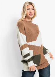 Front View Patchwork Mock Neck Sweater