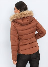 Back View Faux Fur Hooded Coat