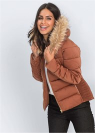 Front View Faux Fur Hooded Coat