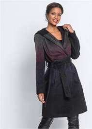 Front View Ombre Wool Coat