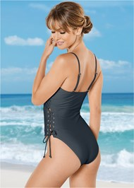 Back View Side Grommet Tie One-Piece