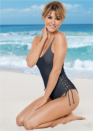 Front View Side Grommet Tie One-Piece