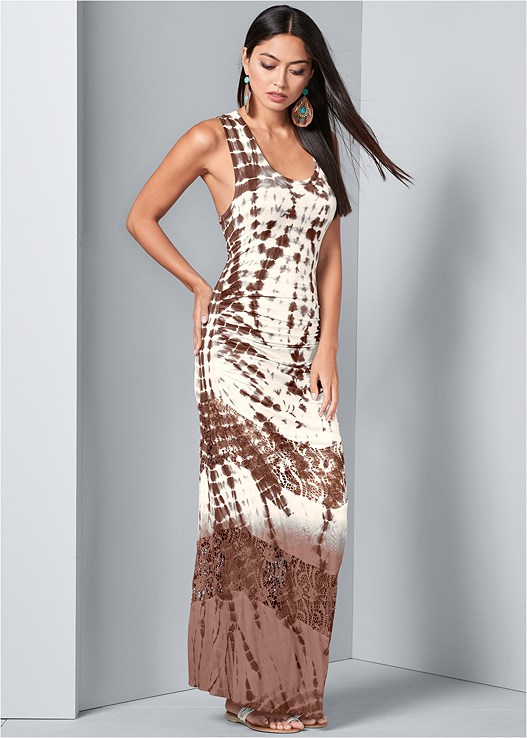 LACE DETAIL TIE DYE MAXI,EMBELLISHED THONG SANDALS,BEADED EARRINGS