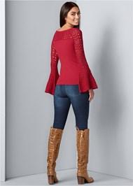 Back View Crochet Detail Sweater
