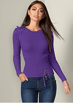 lace up ribbed sweater