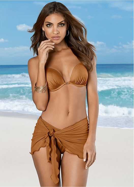 MESH WRAP SKIRT,PERFECT PUSH UP BIKINI BRA,SCOOP FRONT BIKINI BOTTOM