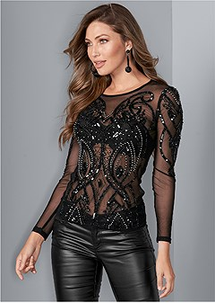 embellished mesh top