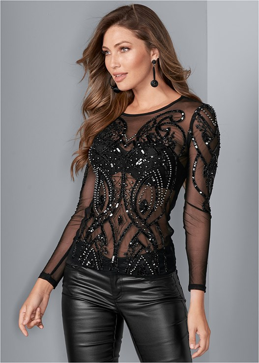 EMBELLISHED MESH TOP,EVERYDAY YOU STRAPLESS BRA,FAUX LEATHER PANTS,HIGH HEEL STRAPPY SANDALS,BAUBLE HOOP EARRINGS