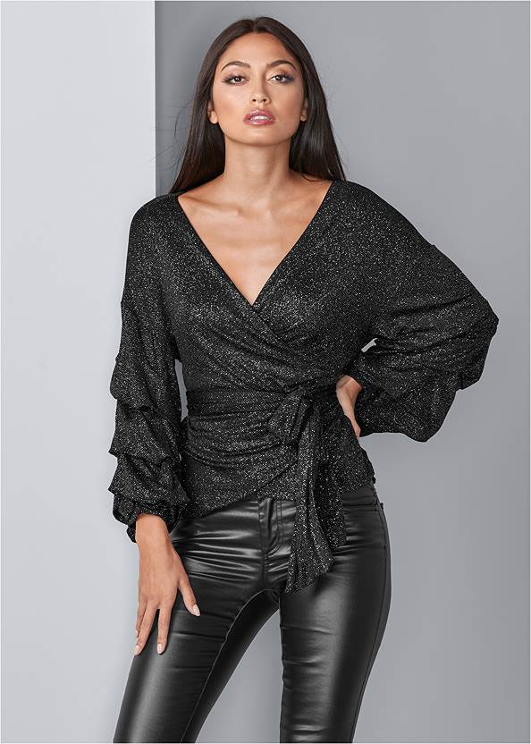 Front View Balloon Sleeve Wrap Top