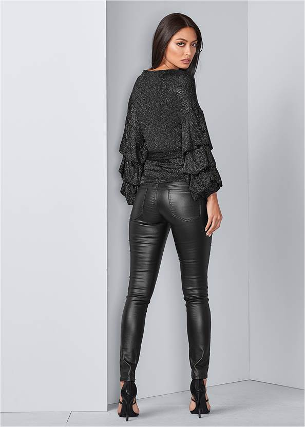 Back View Balloon Sleeve Wrap Top