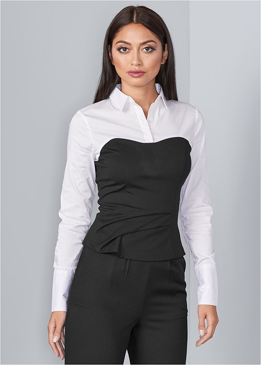 030712518aaac TWOFER BLOUSE in White   Black